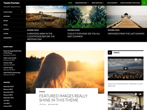 In 2014, our default theme lets you create a responsive magazine website with a sleek, modern design. Feature your favorite homepage content in either a grid or a slider. Use the three widget areas to customize your website, and change your content's layout with a full-width page template and a contributor page to show off your authors. Creating a magazine website with WordPress has never been easier.