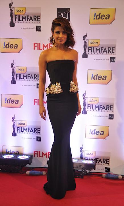 Priyanka Chopra walked the Red Carpet at the 59th Idea Filmfare Awards 2013 at Yash Raj Studios in Mumbai, on January 24, 2014. (Photo: IANS)