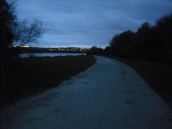 Still dark towards end of first lap, lights of Killamarsh in the distance