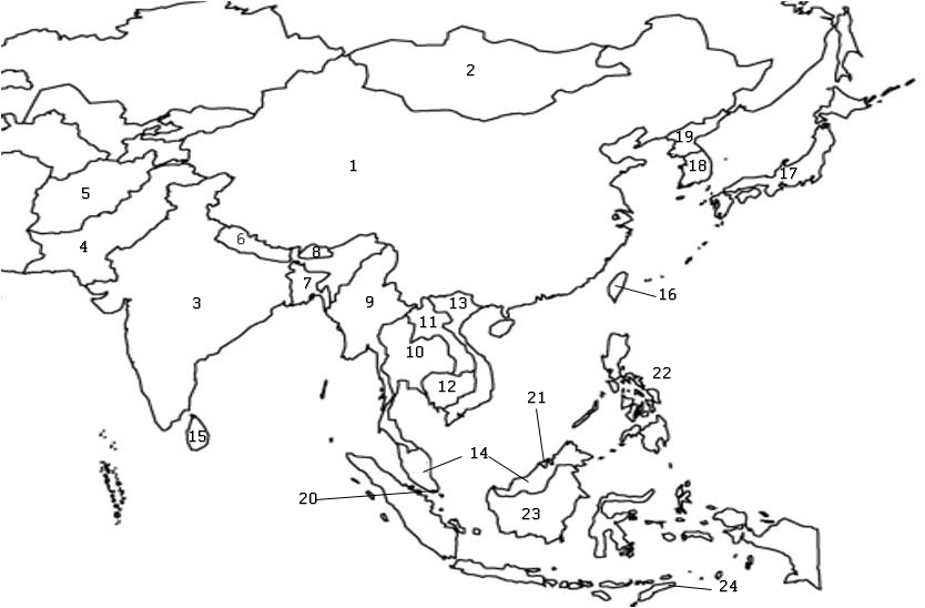 Map Of Asia Without Names.Asia Map With Country Names Quiz