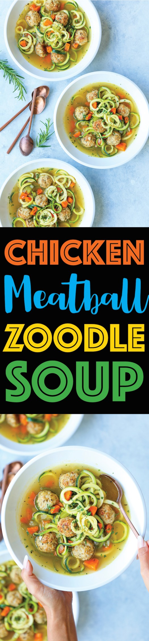 Chicken Meatball Zoodle Soup - Everyone's favorite chicken noodle soup, but made even healthier with zucchini noodles and the most tender chicken meatballs!