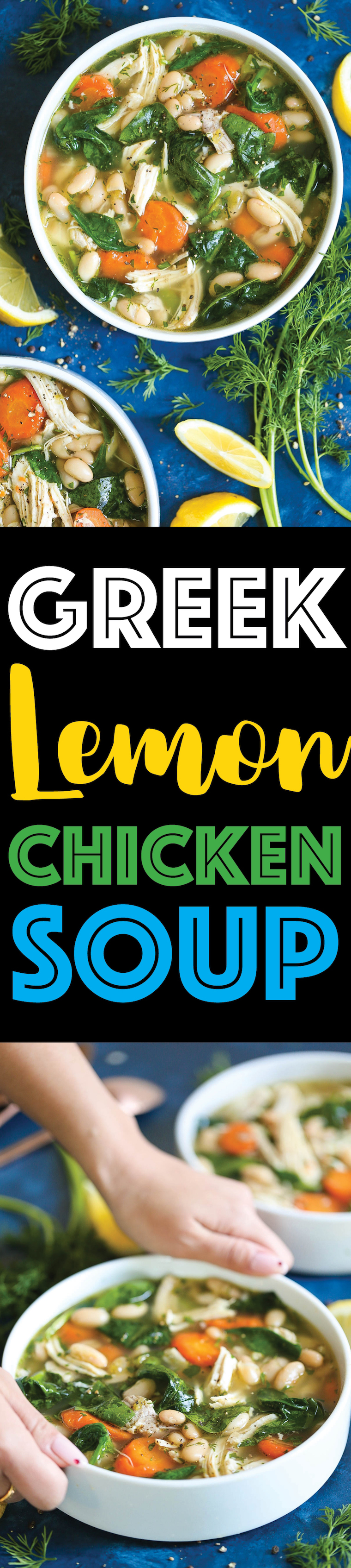 Greek Lemon Chicken Soup - A quick and easy 30 minute chicken soup – so cozy and comforting! We swap out the noodles for cannellini beans for added protein and fiber with way less calories! And the added lemon juice is so refreshing and vibrant!