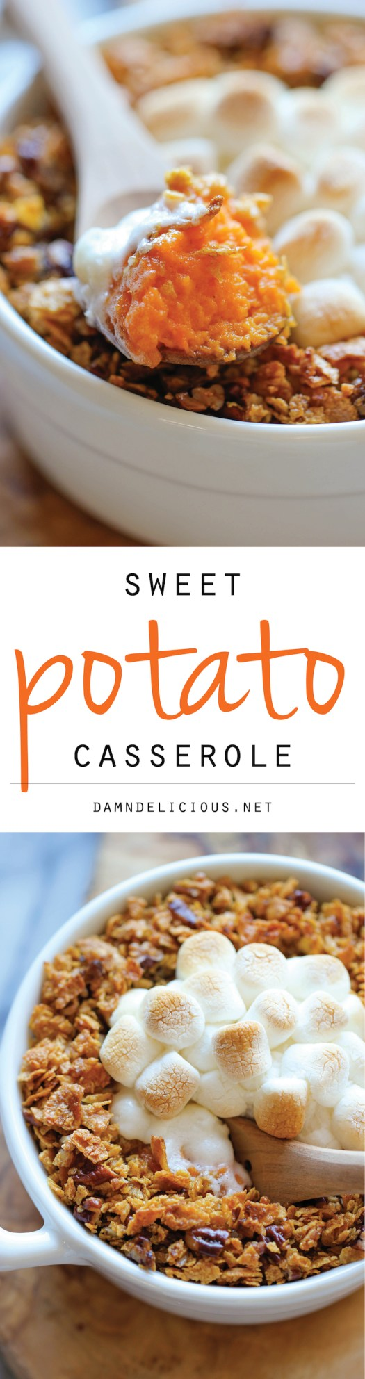 Sweet Potato Casserole-Made with mashed roasted sweet potatoes and a crunchy pecan topping with an ooey gooey melted marshmallow center!