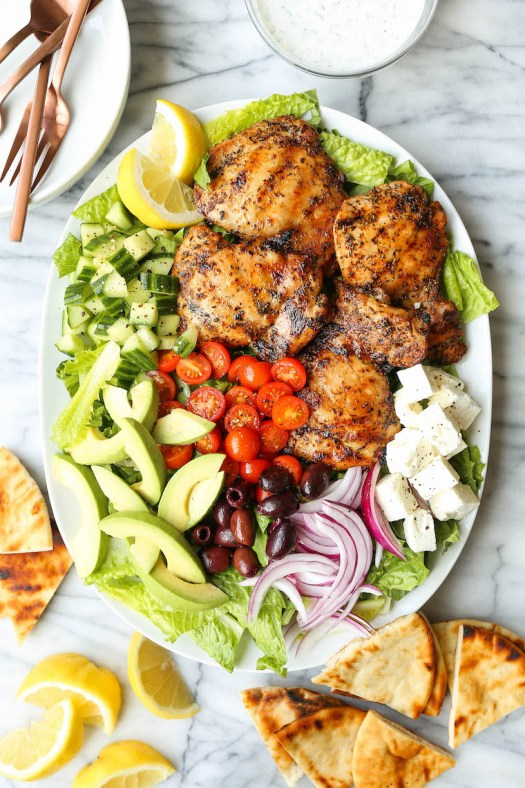 Grilled Greek Chicken Salad - The BEST Greek salad you will ever have! With perfectly grilled, juicy chicken thighs and the most heavenly tzatziki dressing!