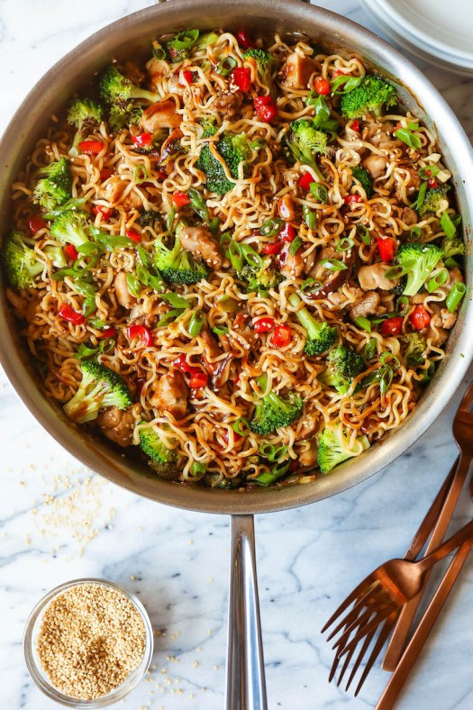 Quick Chicken Ramen Noodle Stir Fry - Noodles, tender chicken, broccoli, bell pepper and mushrooms with the best and easiest stir fry sauce ever. 30 min. Start to finish.