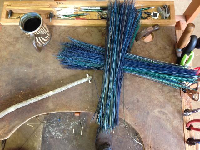 Beginning a handled turkey wing broom