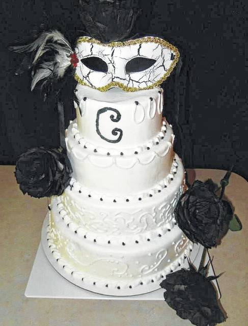 From traditional to unique     wedding cakes can fit any design   The     A masquerade theme cake was part of one couple s special day    Photo  courtesy of Angie s Cakes   Bakery