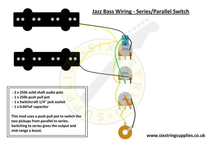 jazz bass wiring series parallel  six string supplies
