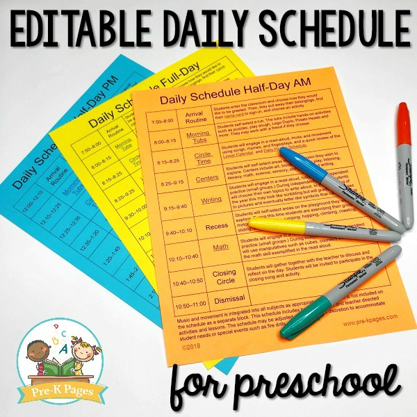 Download our standard preschool daily schedule template and make a list of all the activities that you have planned just for them. Editable Daily Schedule For Preschool