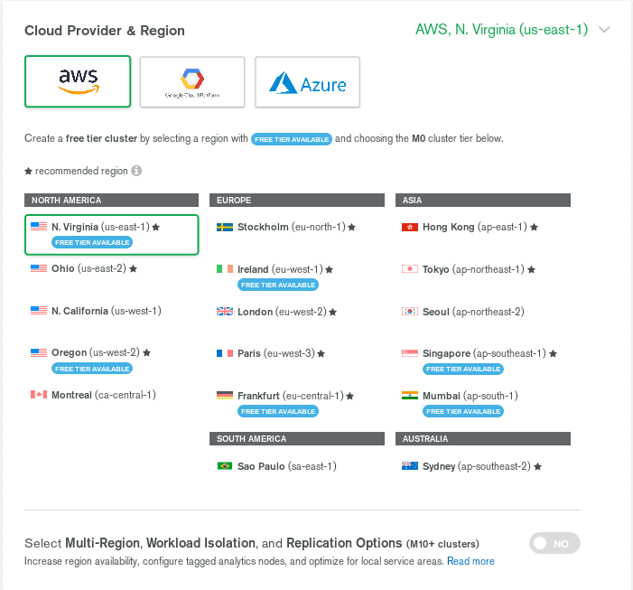 Screenshot of MongoDC Atlas account setup