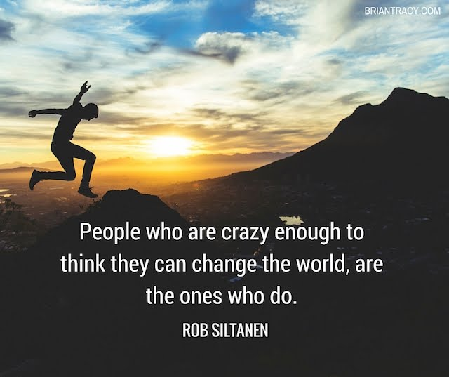 inspirational quote by Rob Siltanen on image of man jumping over a mountain peak