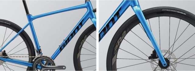 軽量アルミフレームとフルカーボンフォークを採用。タイヤ幅は38Cまで対応する高い汎用性。