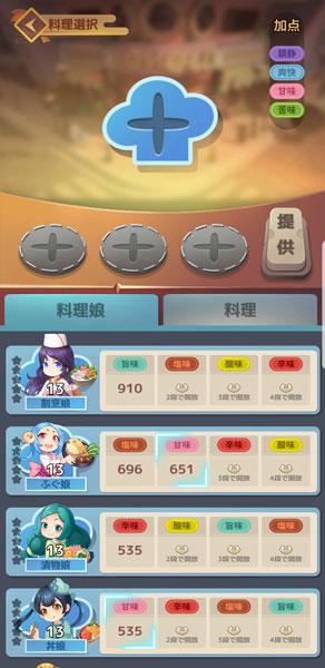 「幻想レストラン」料理娘選択画面