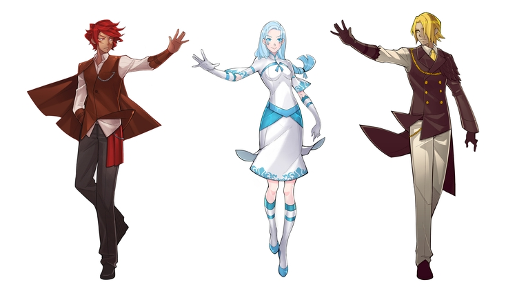 An Octave Higher original concept art for Franz, Elise and Frederick