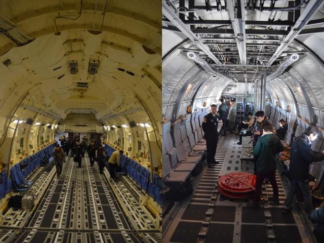 左はC2の貨物室=1月31日午前。右はC1の貨物室で、操縦桿と翼をつなぐワイヤーが天井で露出している=1月30日午後
