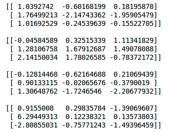 matrix operations in numpy