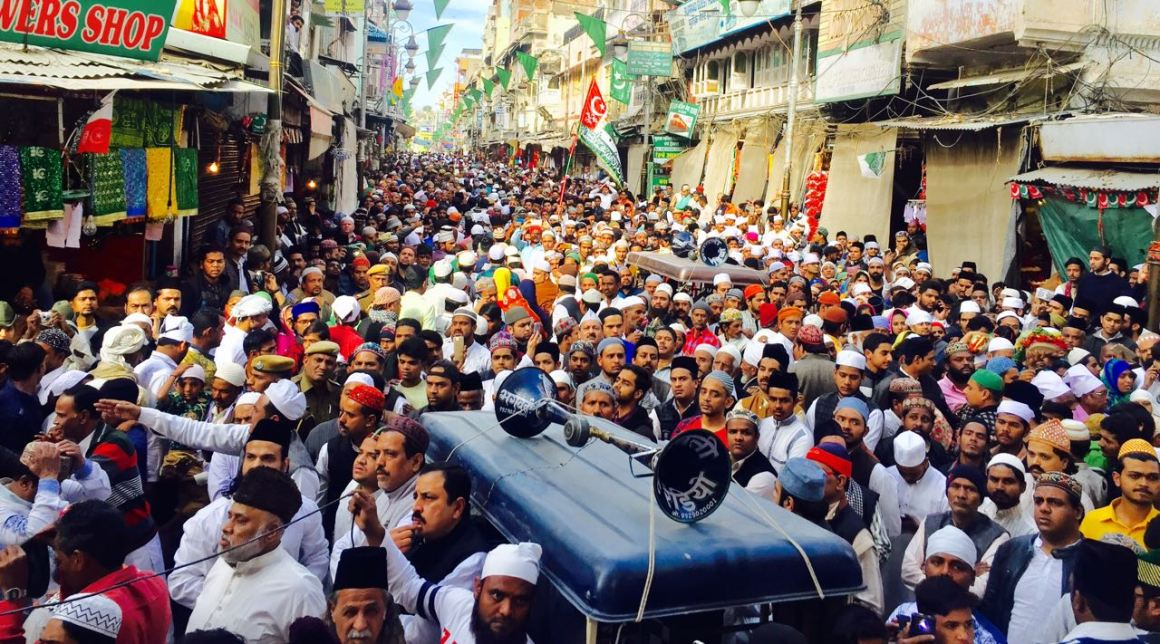Khadims and locals protest against Shiv Sena Hindustan in Dargah Bazar, Ajmer. Credit: Aadil Raza Khan