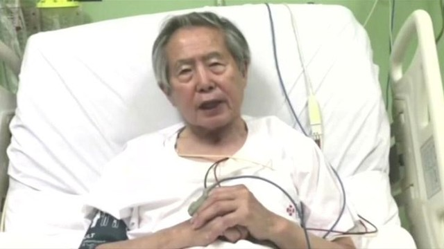 Peru's former President Alberto Fujimori asks for forgiveness from Peruvians as he lies in hospital bed in Lima, Peru, in this still image taken from a video posted on Facebook on December 26, 2017. Fujimori Handout/Reuters TV via Reuters