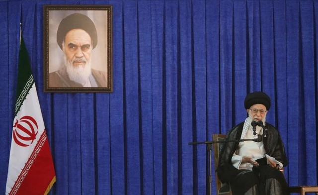 Iran's Supreme Leader Ayatollah Ali Khamenei delivers a speech during a ceremony marking the death anniversary of the founder of the Islamic Republic Ayatollah Ruhollah Khomeini, in Tehran, Iran, June 4, 2017. TIMA via Reuters/Files