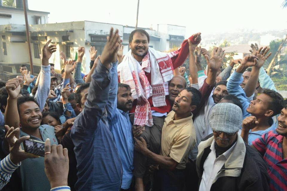 Akhil Gogoi with supporters. after being released from jail. Credit: Facebook