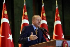Turkish President Tayyip Erdogan speaks during a meeting at the Presidential Palace in Ankara, Turkey, January 10, 2018. Yasin Bulbul/Presidential Palace/Handout via Reuters