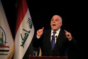 Iraq's Prime Minister Haider al-Abadi speaks during a ceremony in Najaf, Iraq January 7, 2018. Credit: Reuters/Alaa Al-Marjani