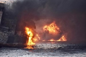 Iranian oil tanker Sanchi is seen engulfed in fire in the East China Sea, in this January 13, 2018 picture provided by Shanghai Maritime Search and Rescue Centre and released by China Daily. Credit: Reuters/ China Daily