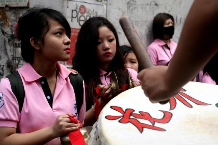 Chinese new year celebration in Tiretta Bazaar, Kolkata. (Source: Express Photo by Partha Paul)