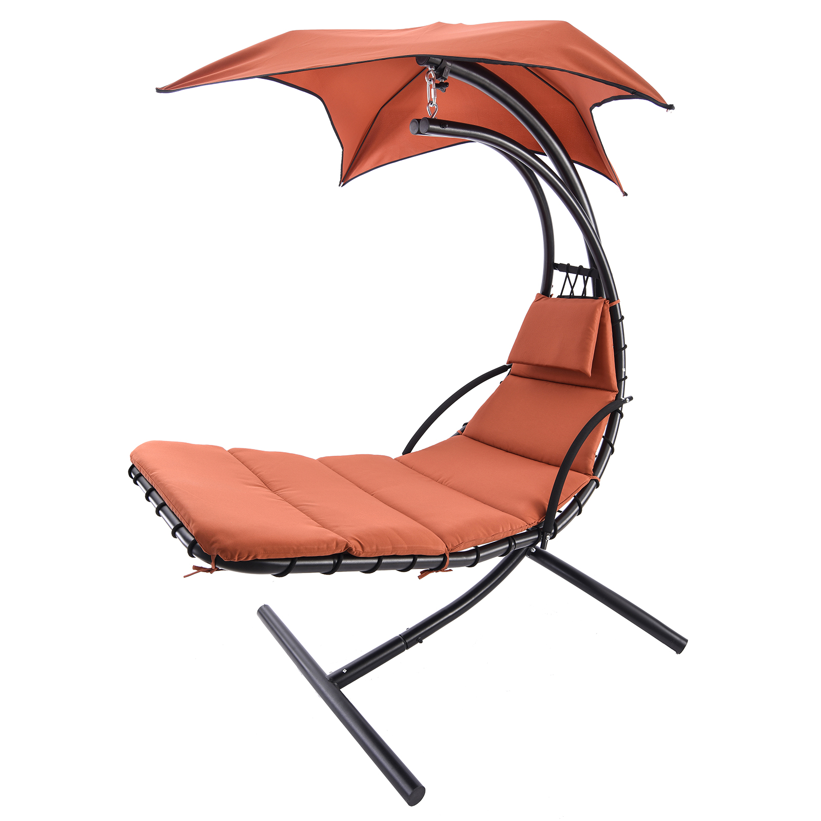 Hanging Steel Chaise Lounger Chair Arc Stand Swing Hammock