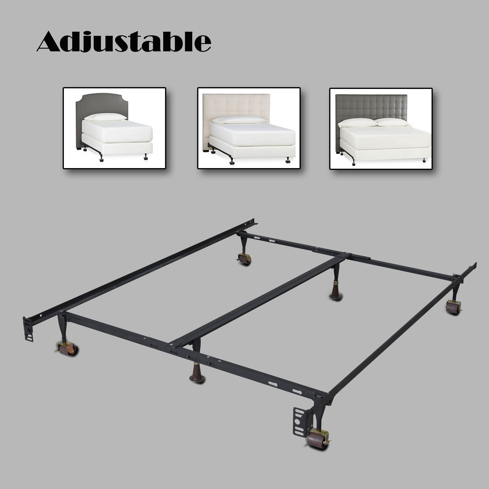 Heavy Duty Metal Bed Frame Adjustable Twin Full Queen W