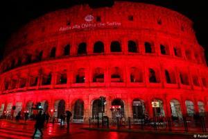 علامتی طور پر خون میں ڈوبا ہوا روم کا کولوسیئم نامی ایمفی تھیٹر