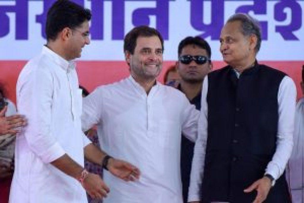 کانگریس صدر راہل گاندھی کے ساتھ سچن پائلٹ اور اشوک گہلوت/ (فوٹو : پی ٹی آئی)