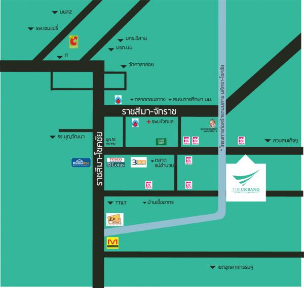 แผนที่โครงการ The Urbano โคราช
