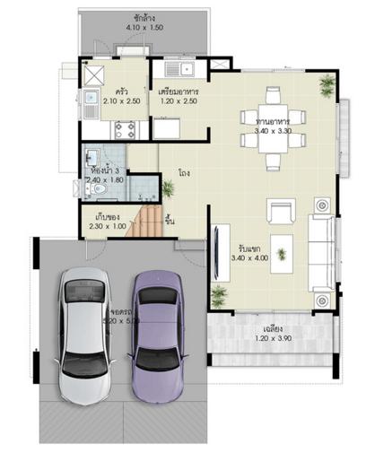 แปลนบ้านแบบ olive ชั้น 1