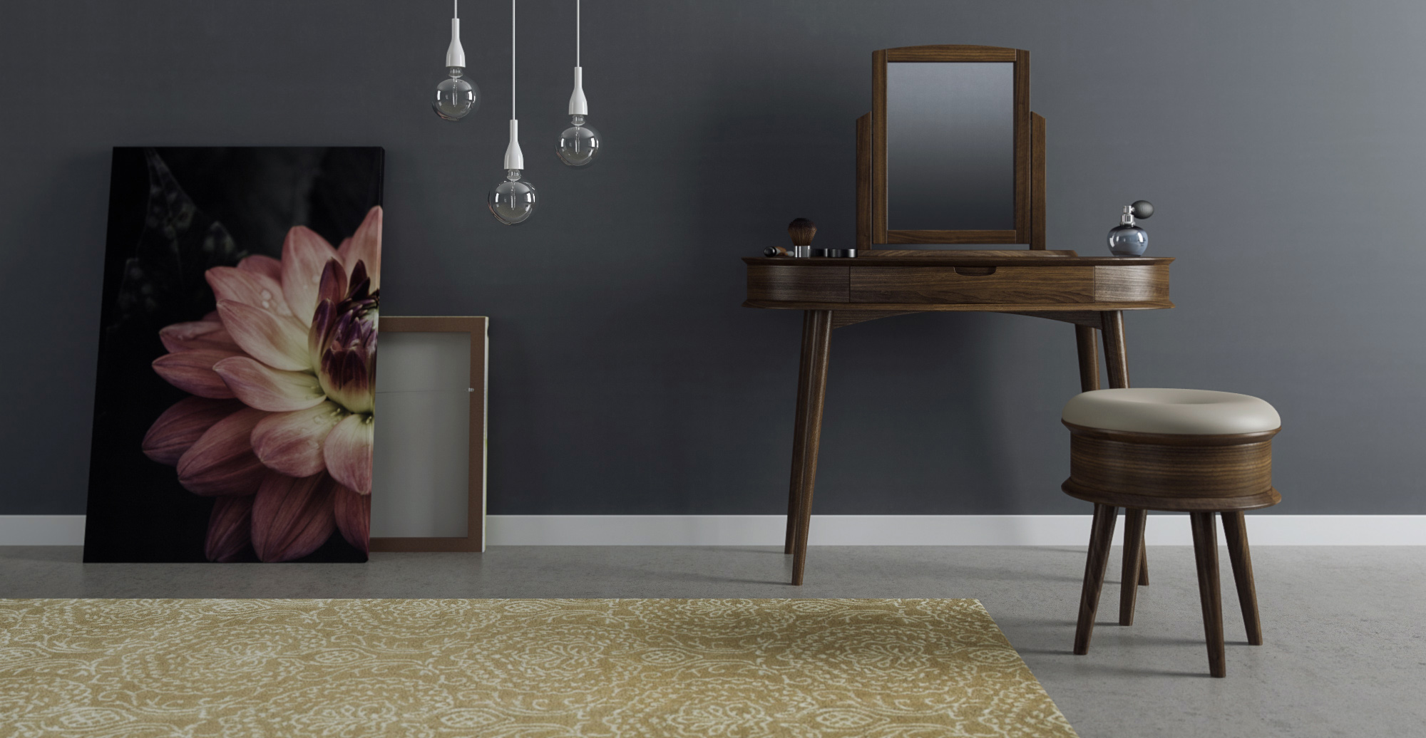 Buy Dressing Table Mirror Stool Set Ethan Online In