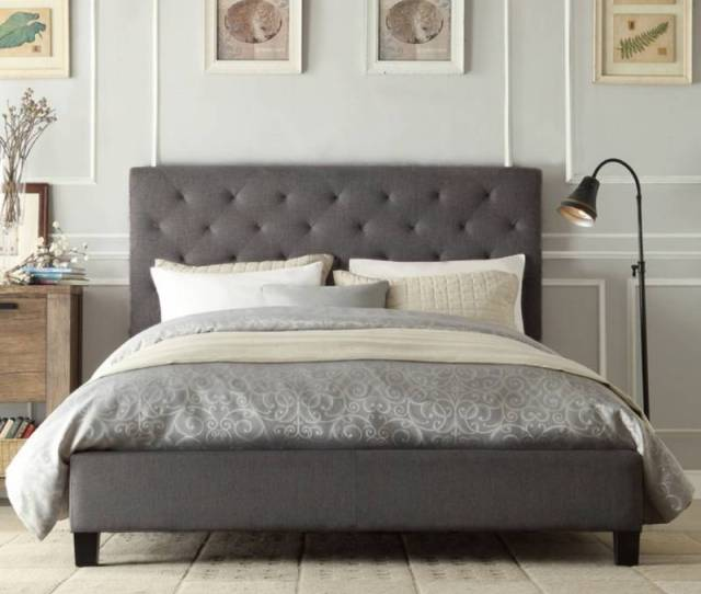Windsor King Padded Linen Fabric Bed Frame In Grey Buy King Size Bed Frame 179925
