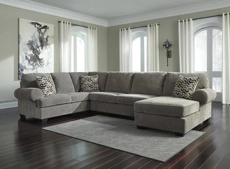 ashley jinllingsly collection 72502 66 34 17 3 piece sectional sofa with left arm facing sofa armless loveseat and right arm facing chaise in grey