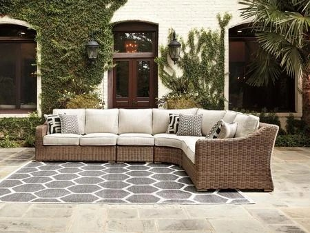 ashley beachcroft collection p791 854 851 846 patio sectional with all weather resin wicker powder coated rust proof frames nuvella fabric cushion