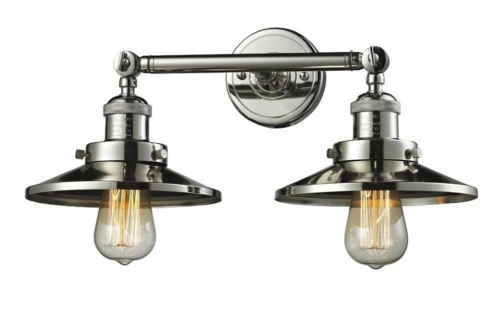 Innovations Lighting-208-PN-M1-Two Light Railroad Wall ... on Discount Wall Sconces id=80849