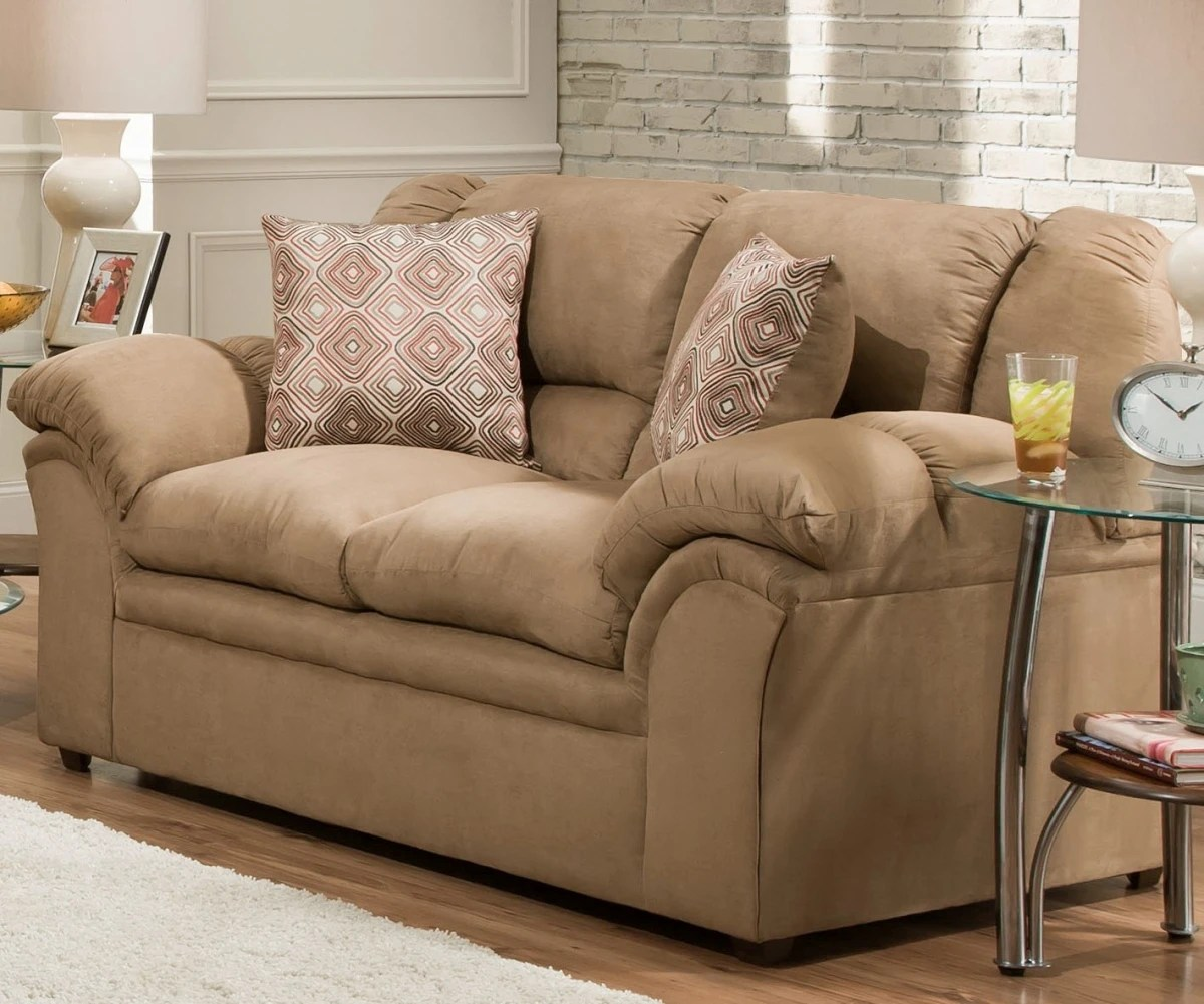 lane furniture 1720 02 venture latte 69 loveseat with pub back pillow top tight seats sausage welt detail contrast toss pillows included hardwood