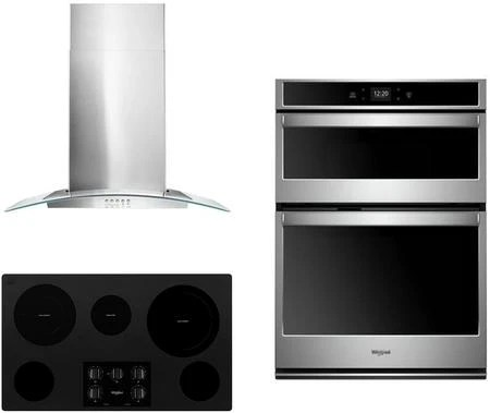 whirlpool 3 piece kitchen appliances package with woc54ec0hs 30 electric double wall oven microwave combo wce77us6hb 36 electric cooktop and