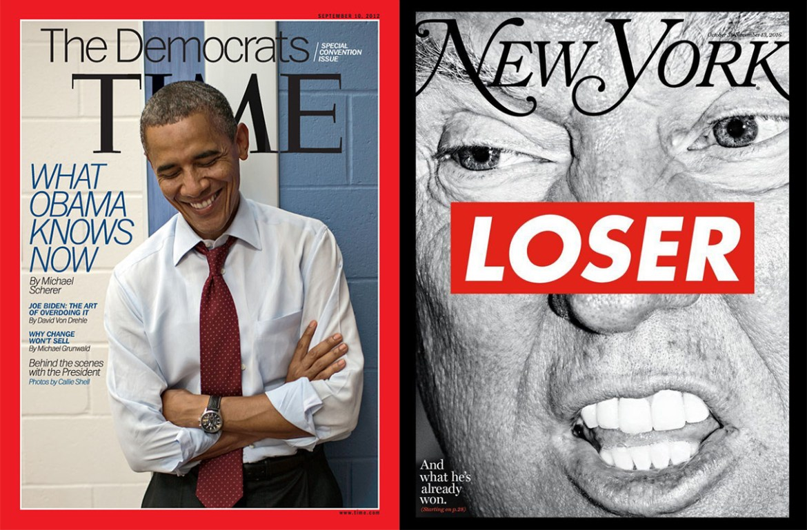 Time magazine's September 10, 2012 issue and New York magazine's 2016 election issue, featuring artwork by Barbara Kruger