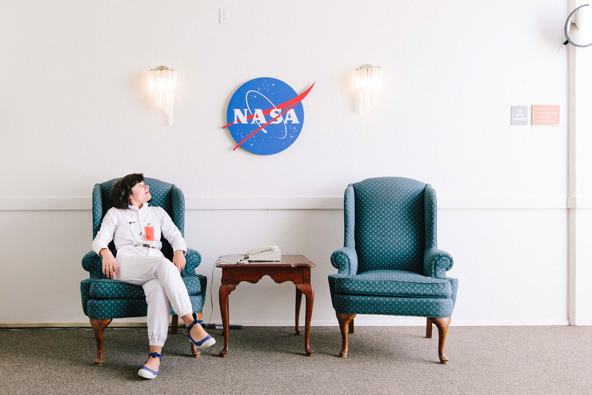 Nelly Ben Hayoun sitting in a chair at NASA HQ