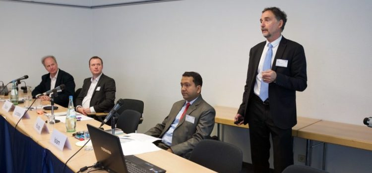 """""""Urban Health"""" Session at Resilient Cities 2017. From left to right: Paul Wilkinson,  London School of Hygiene and Tropical Medicine; Jonathan Taylor, University College of London;  Md Moinul Islam, Gazipur City; Steve Lindsay, Durham University"""