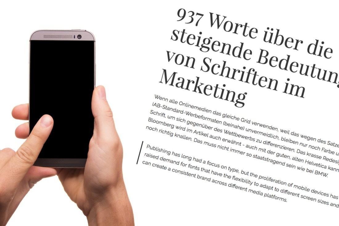 937 Worte über die steigende Bedeutung von Schriften im Marketing - und kaum eins über den Flächenverlust