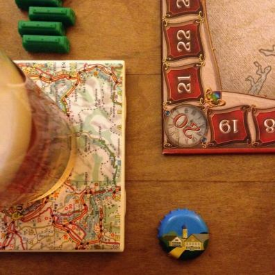 Board game night - Ticket to Ride and beer