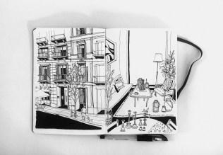 Left _ Hand Sketch _ 0.4 Black Ink Pen _ Location _ Passage de Gracia, Barcelona Right _ Hand Sketch _ 0.4 Black Ink Pen _ Location _ GIDLOOF Furniture Store, El Born, Barcelona