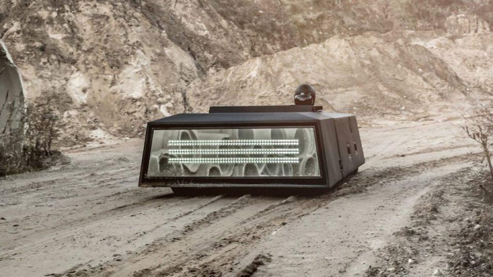 futuristic car in the desert