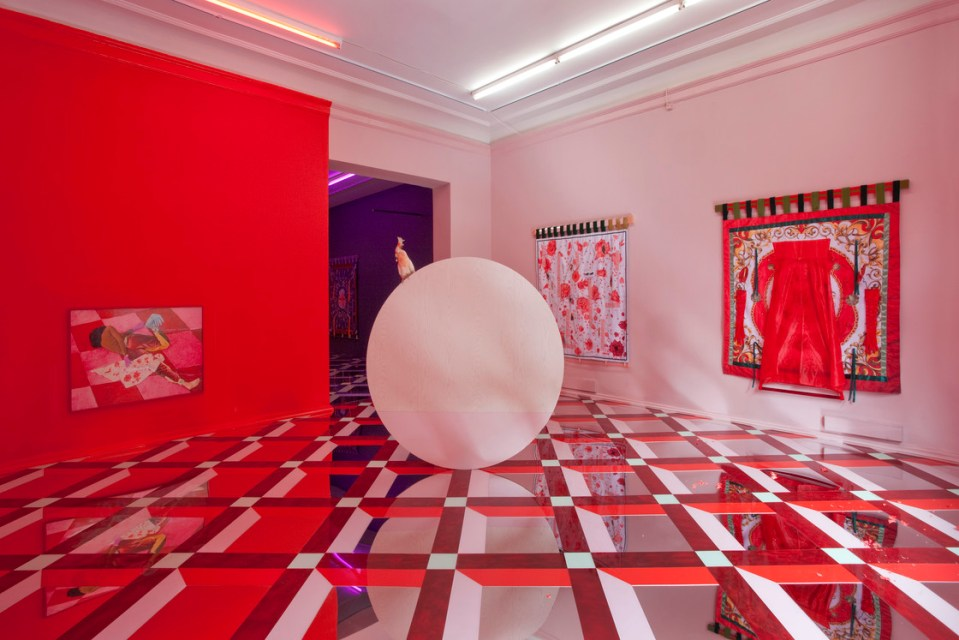 installation, red space, texture on floor, red wall, paintings