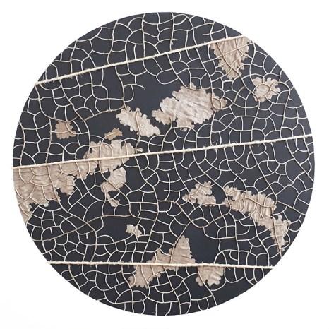 n°15, 2019 - spago, lino e acrilico su tela - 70 x 70 cm